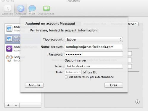Chat facebook nell'app messaggi di Mac OSX