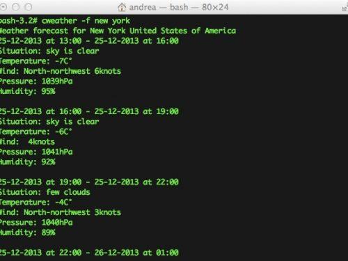 cWeather, il meteo da terminale con OSX