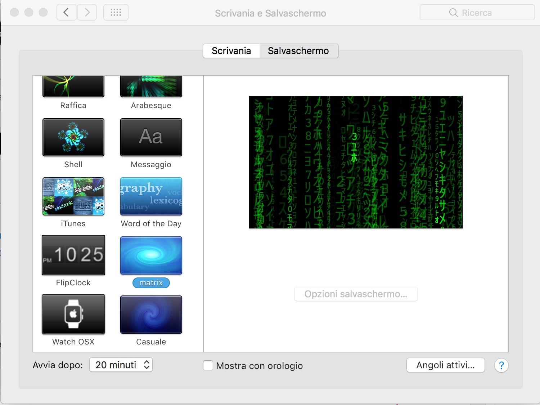 Matrix, screensaver per Mac Osx