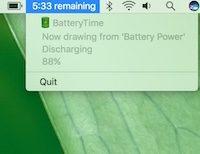 BatteryTime, ripristino del tempo di utilizzo residuo della batteria su OSX
