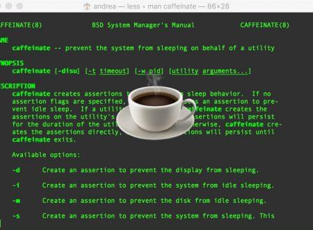 Caffeinate, evitare che il mac vada in stop