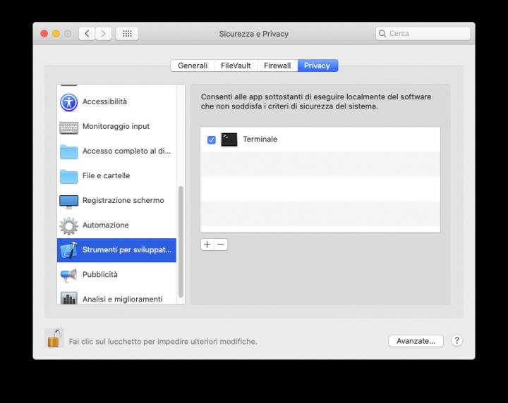 terminal autorizzazione esecuzione software