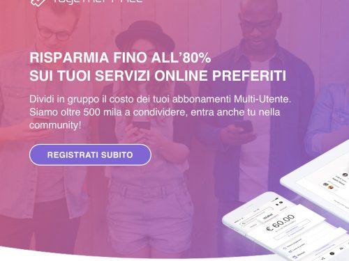 Togetherprice, risparmiare sugli abbonamenti digitali