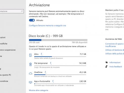 Archiviazione Windows 10, recuperare spazio